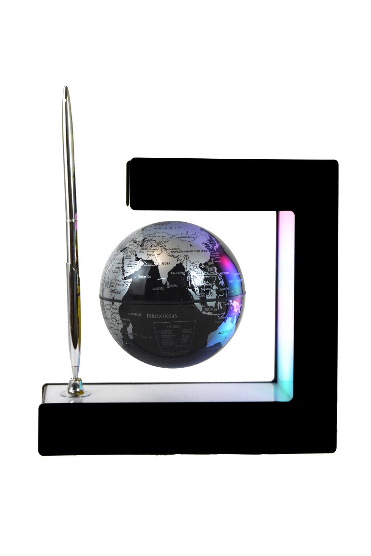 Левитирующий глобус с ручкой (чёрный) (D - 9см)