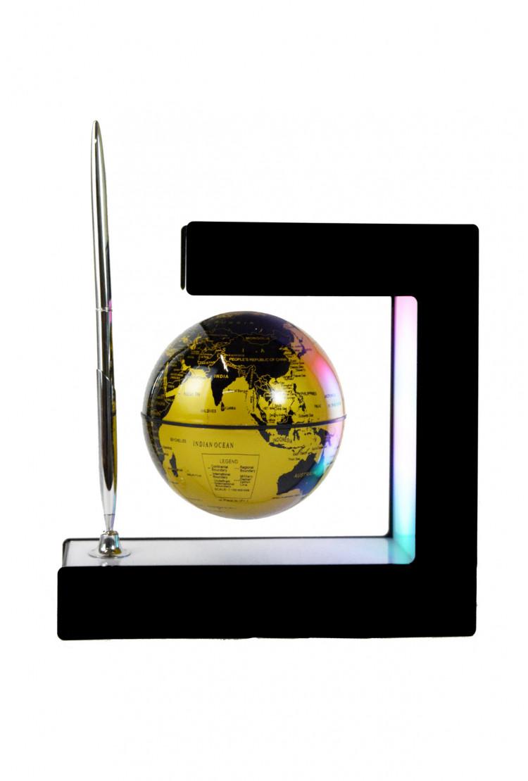 Левитирующий глобус с ручкой, (золотой) (D - 9см)