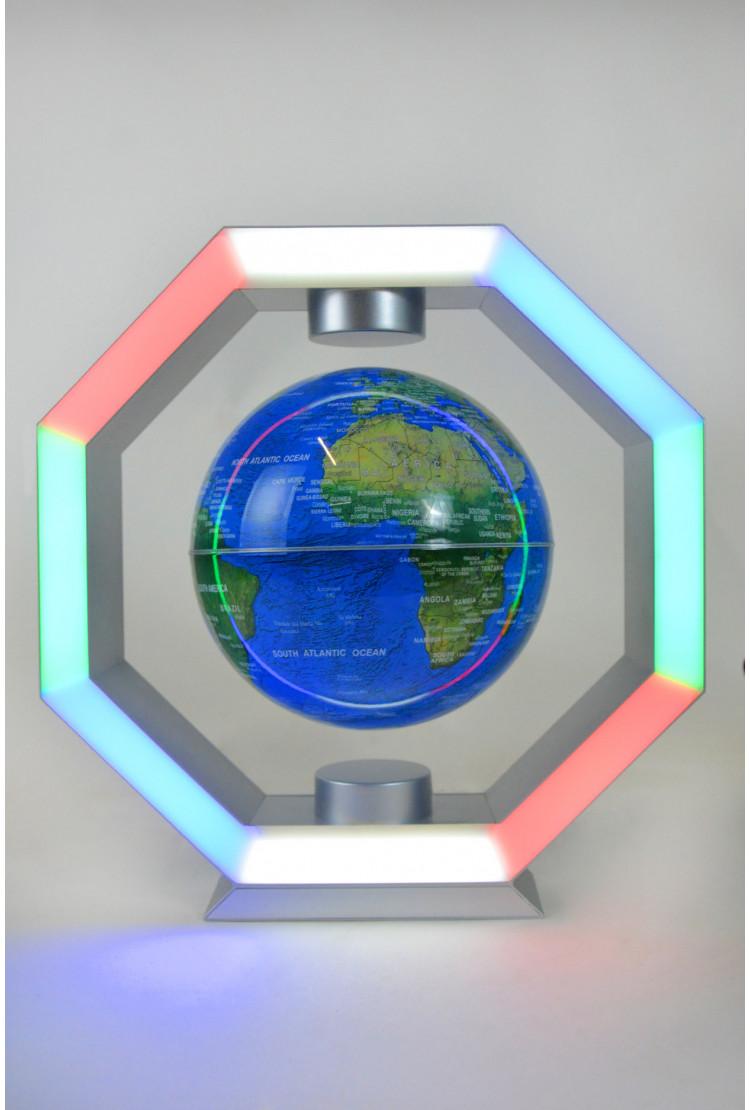 Левитирующий глобус RGB в рамке (синий) (D - 14см)