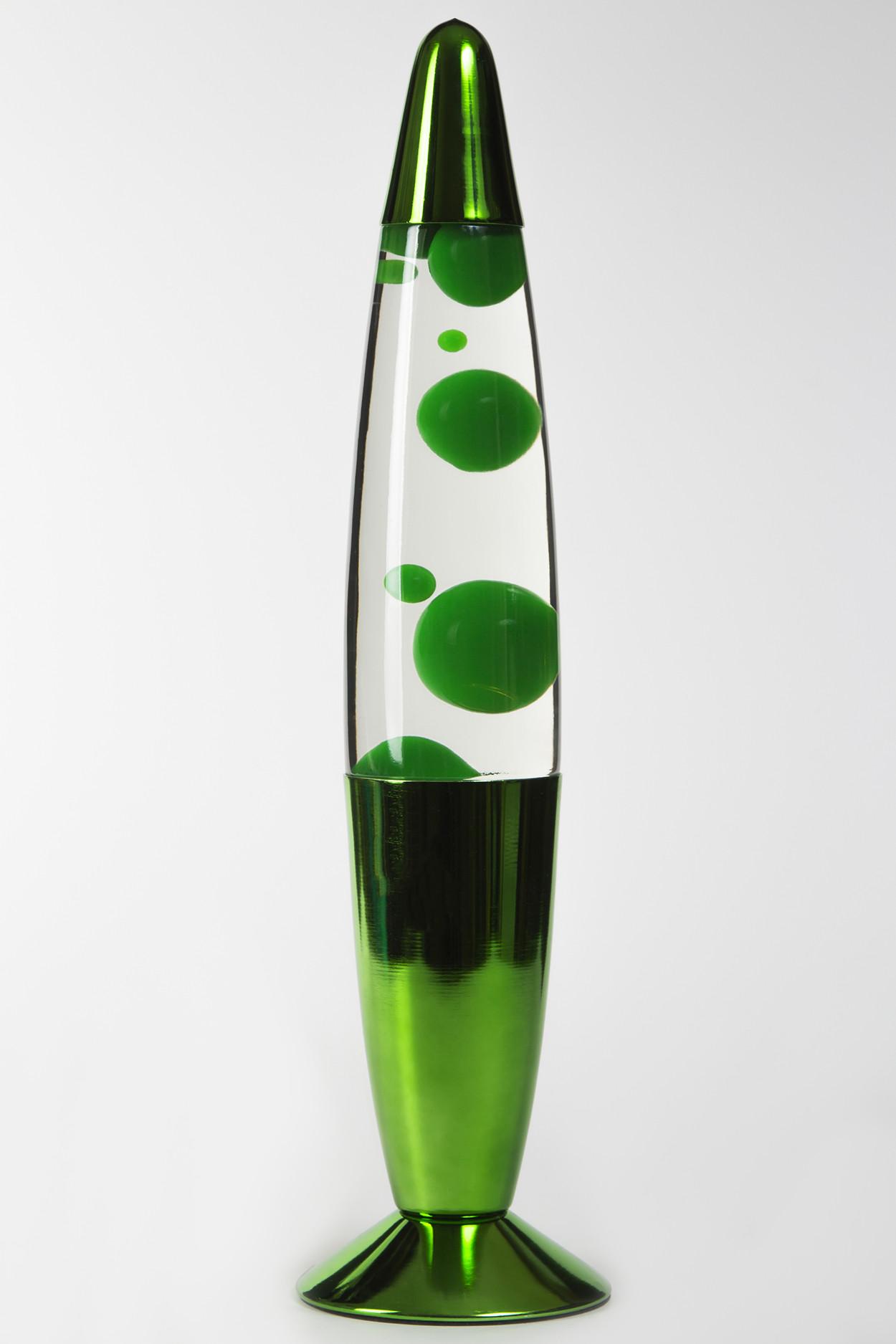 Лава-лампа 35см Хром Зелёная/Прозрачная (Воск)