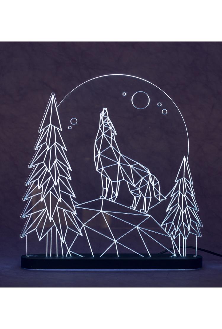 3D светильник Волк (21*17)