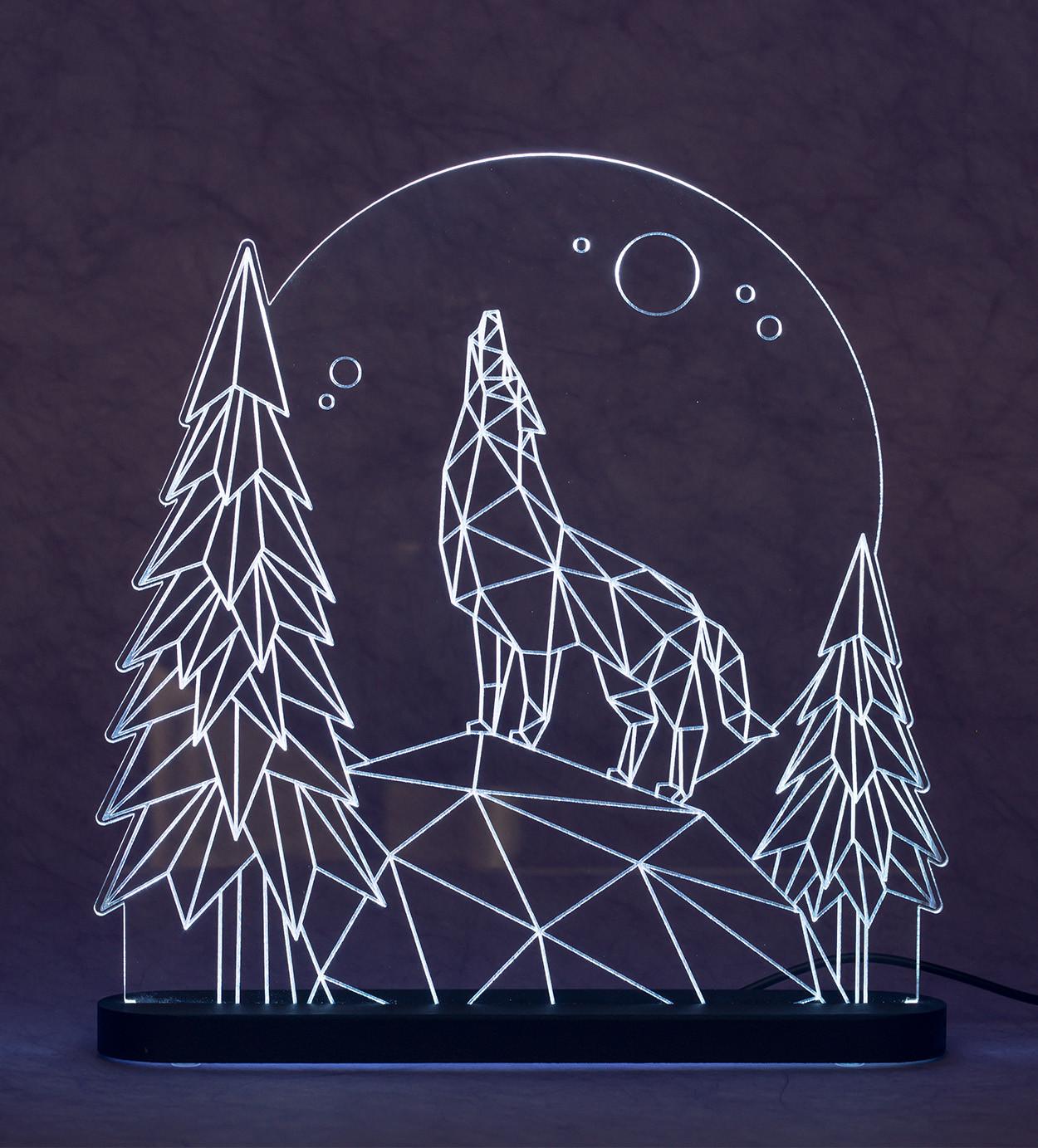 3D светильник Волк (21*21)