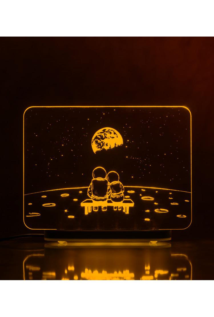 3D светильник Луна. Романтика (21*17)