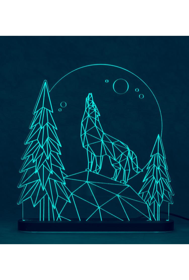 3D светильник Волк (25*25)