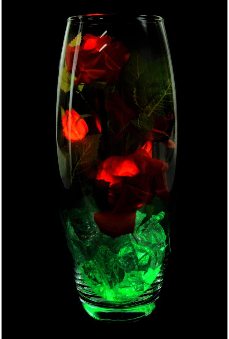 Светодиодные розы 5шт Красные (зел)