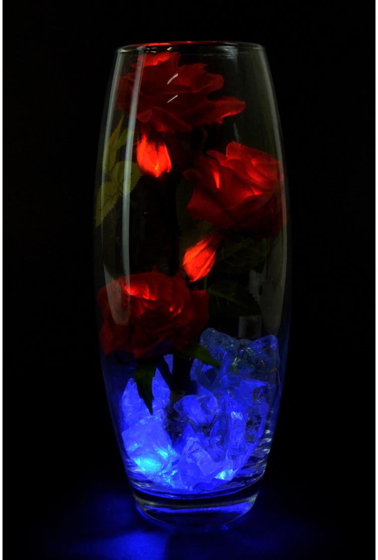 Светодиодные розы 5шт красные (син)