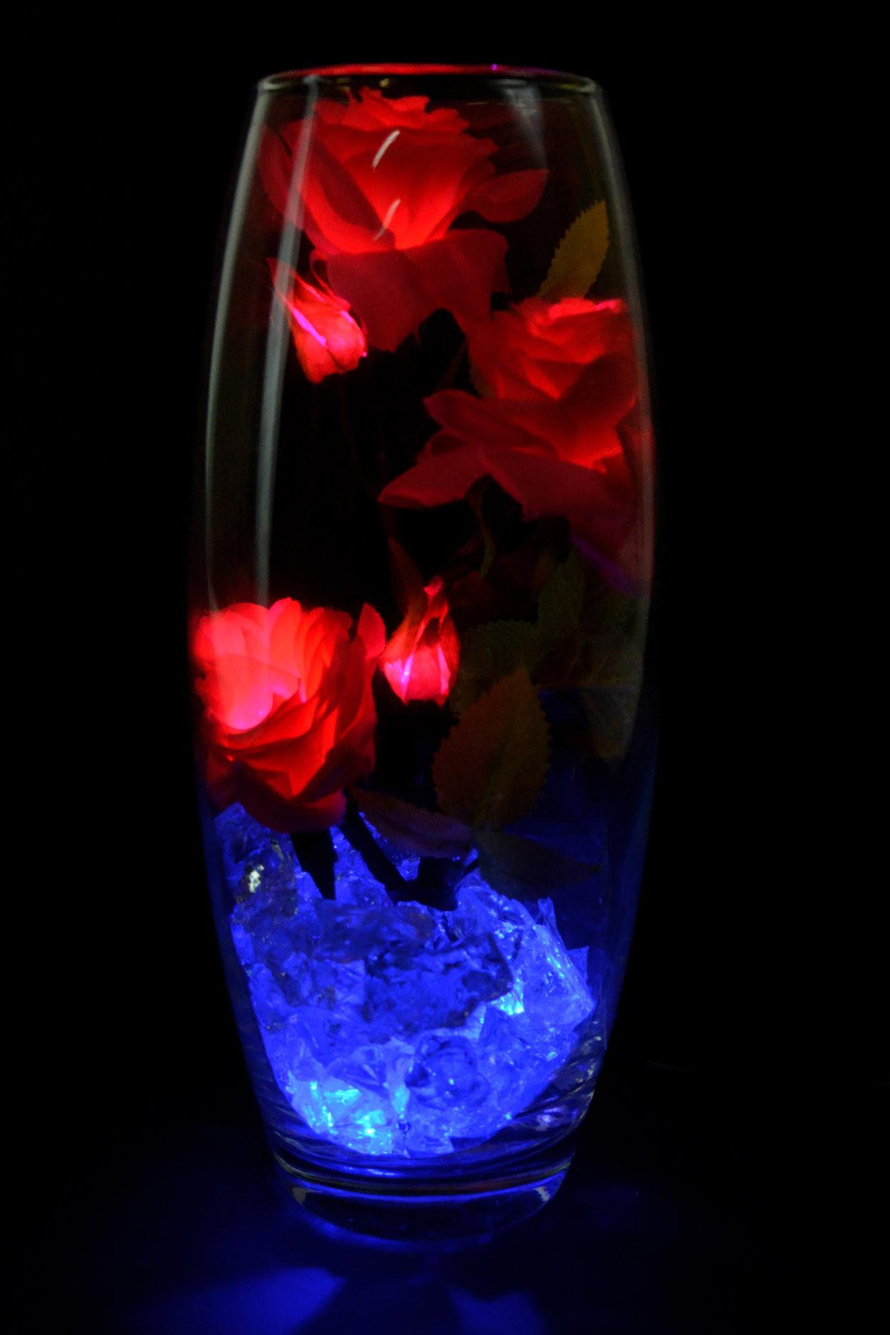 Светодиодные розы 5шт малиновые (син)