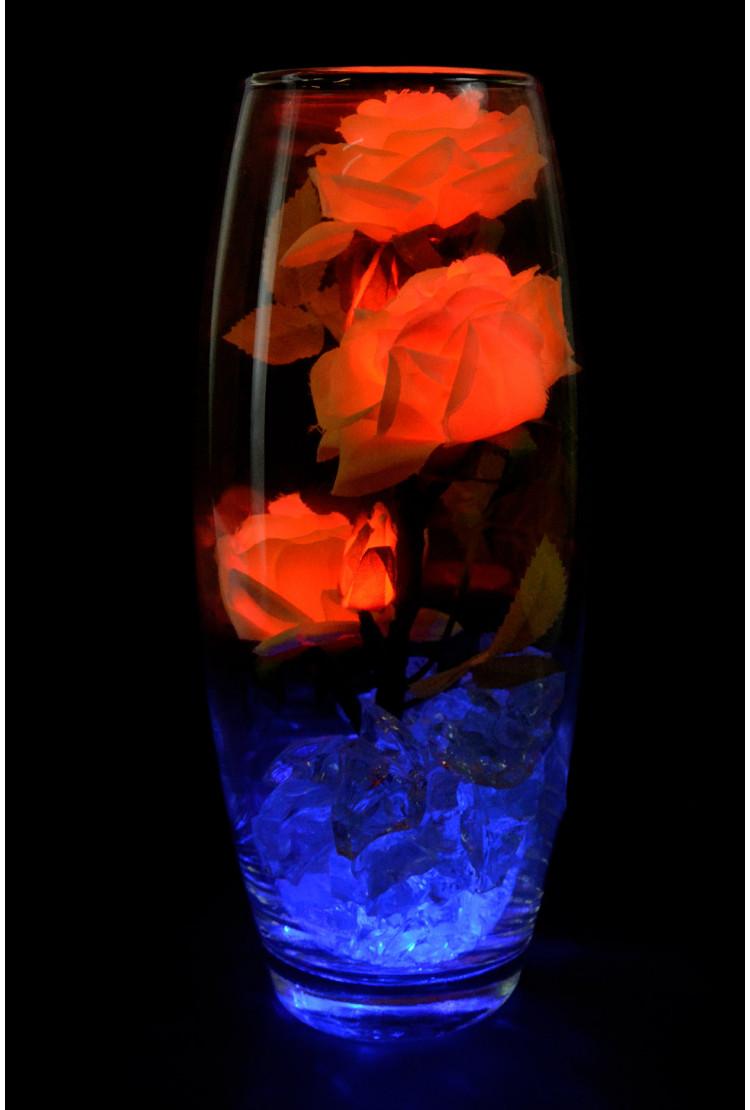 Светодиодные розы 5шт Желто-оранжевые (син)