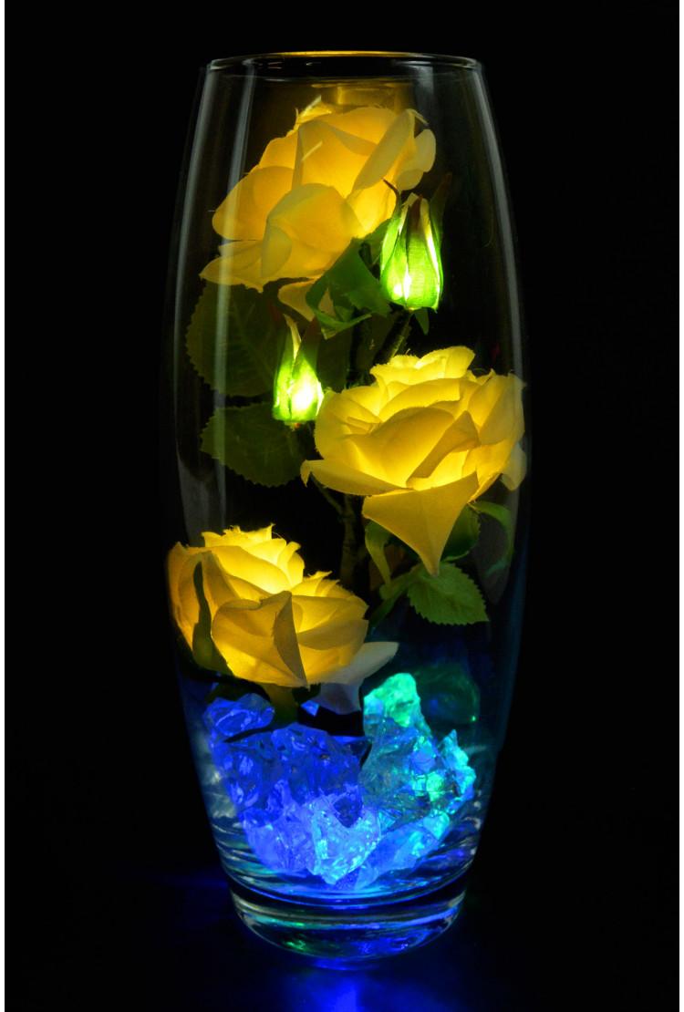 Светодиодные розы 5шт белые (син-зел)