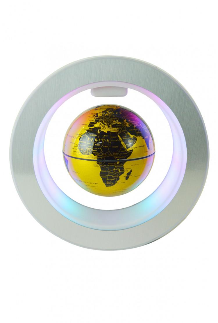 Левитирующий глобус в круглой рамке (D-10см) золотой
