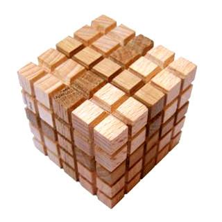 """Деревянная головоломка """"Куб из 4 элементов» (малый)"""