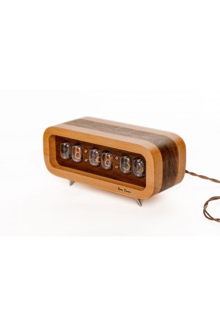 Ламповые ретро часы - деревянные (светлый/темный)