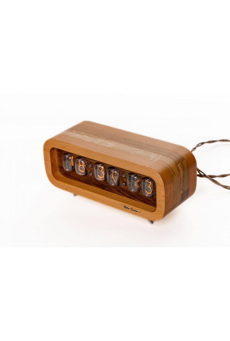 Ламповые ретро часы - деревянные натуральные бук+дуб