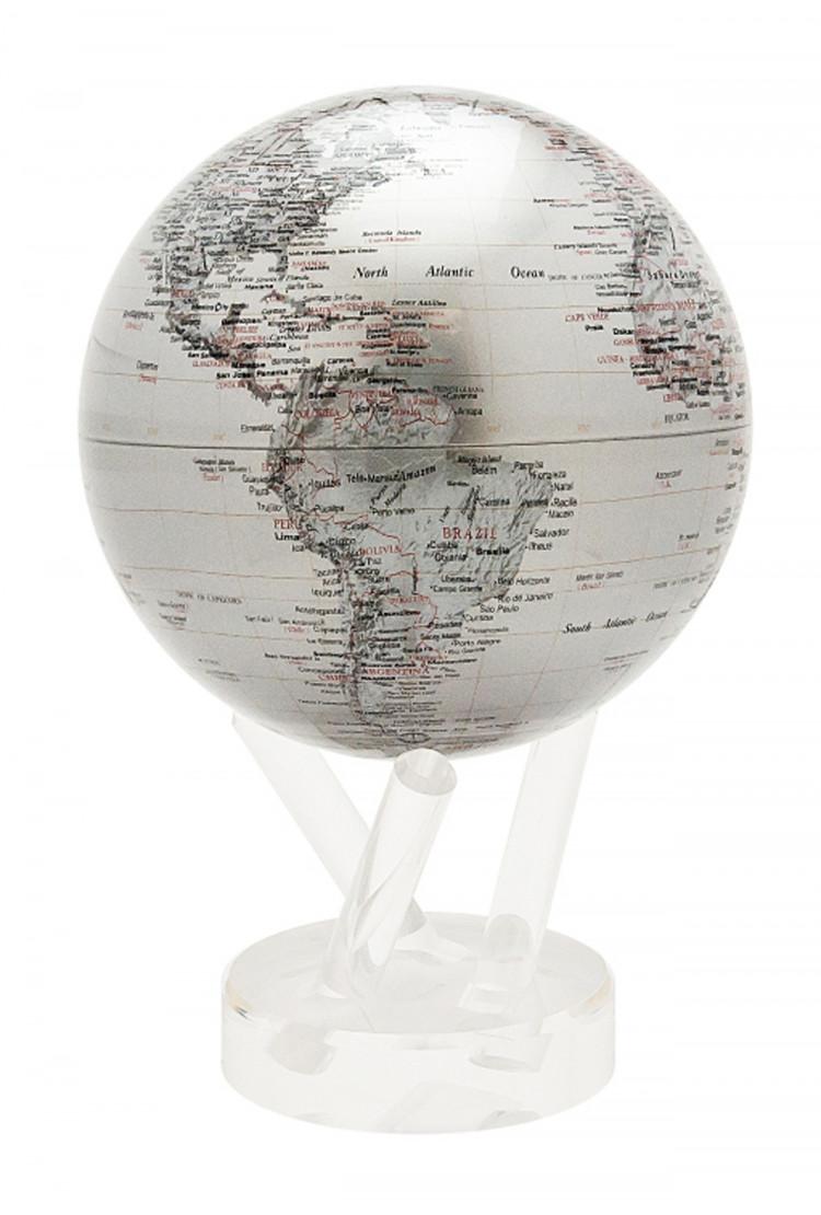 Самовращающийся глобус Mova d16,5 с политический картой мира Сребро
