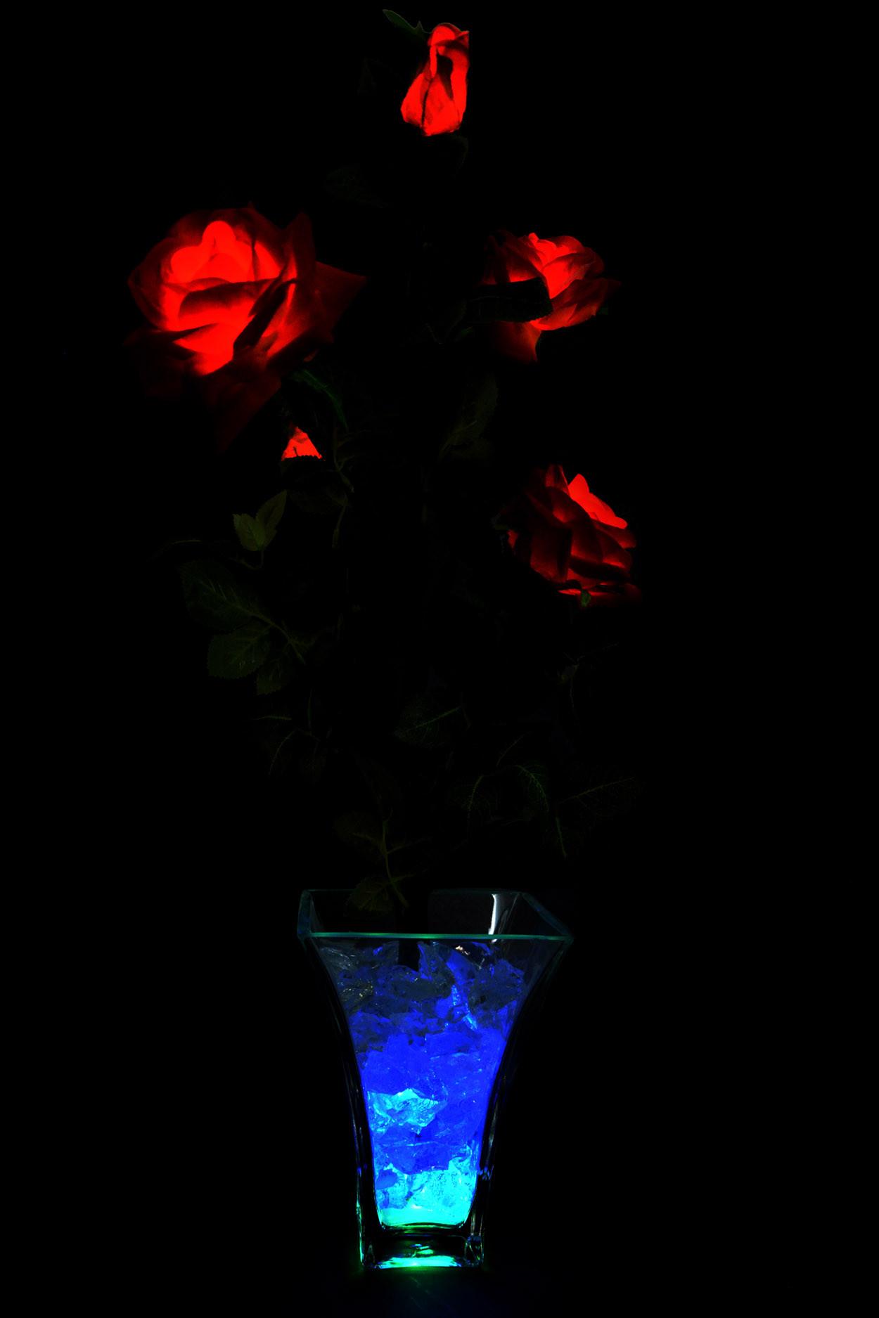 Светодиодные цветы Розы Красные (син-зел) 5 цветка