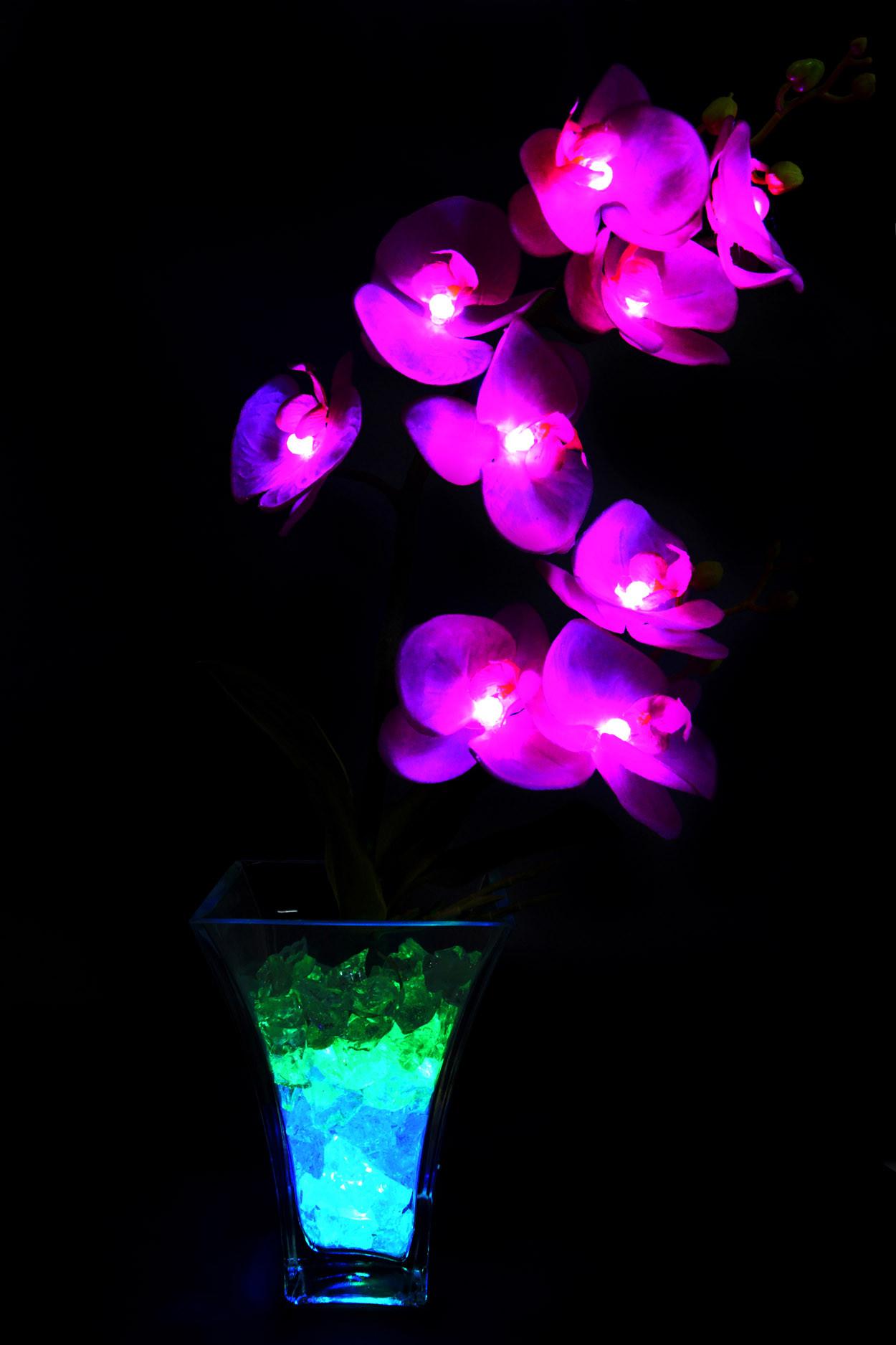 Светильник Орхидея фиолетовые(син-зел) 9 цветков