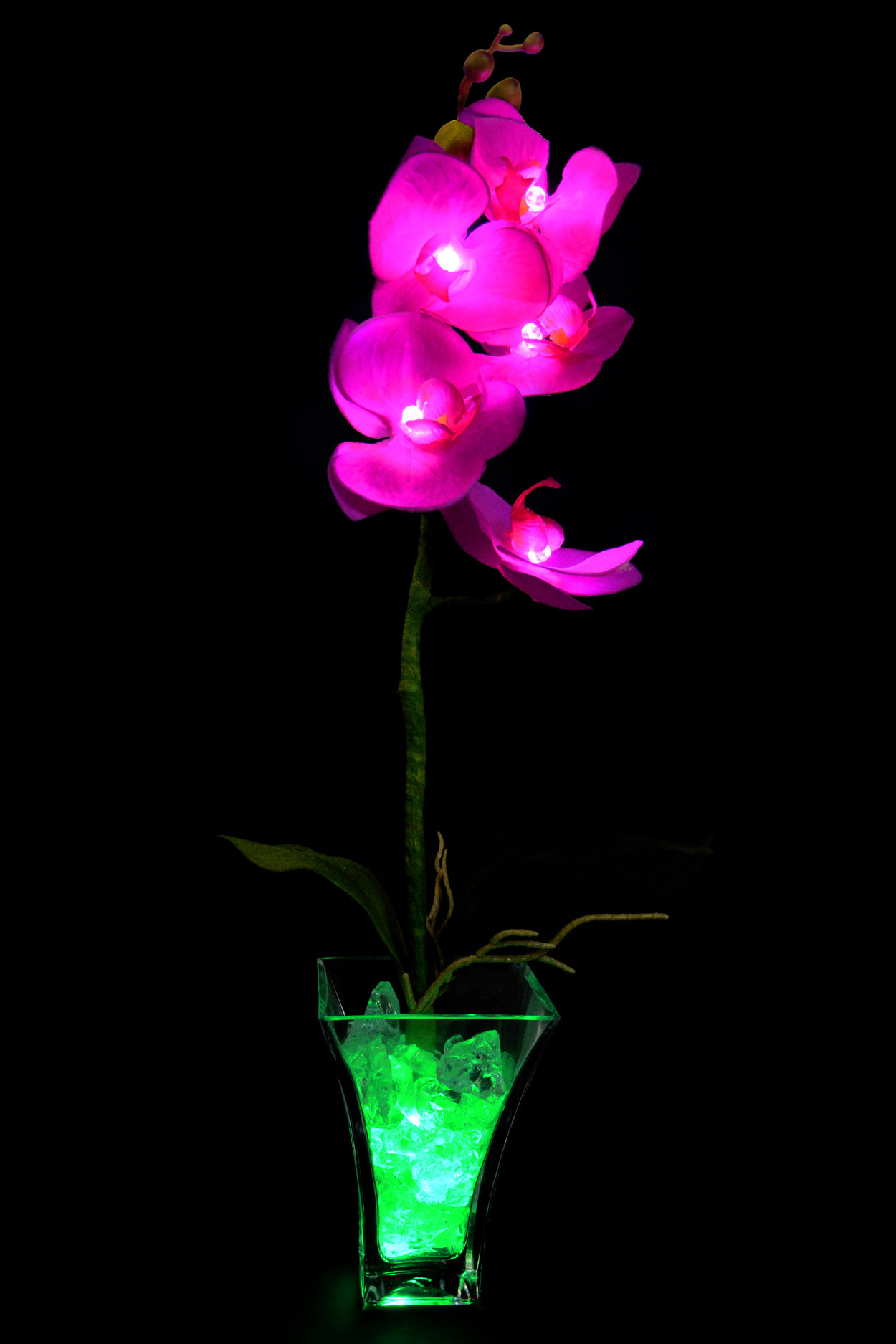 Светильник Орхидея фиолетовая (зел) 5 цветков