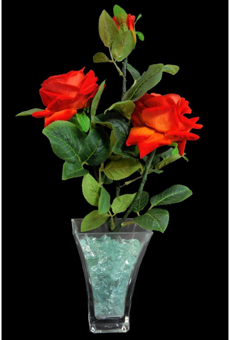 Светодиодные цветы Розы Красные (зел) 3 цветка