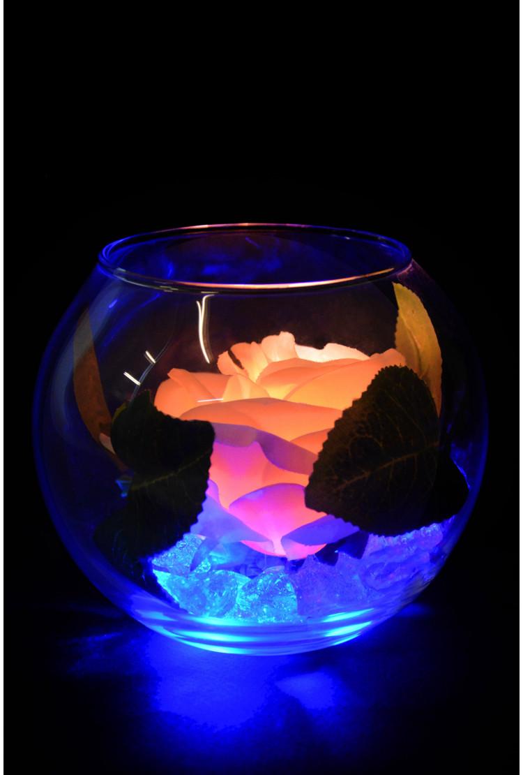 Светящийся цветок Роза в шаре Кремовая (син)