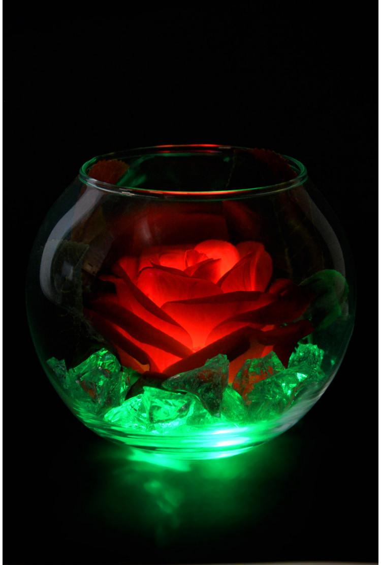 Светящийся цветок Красная Роза в шаре (зел)
