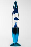 Лава-лампа 35см Хром Синяя/Прозрачная (Воск)