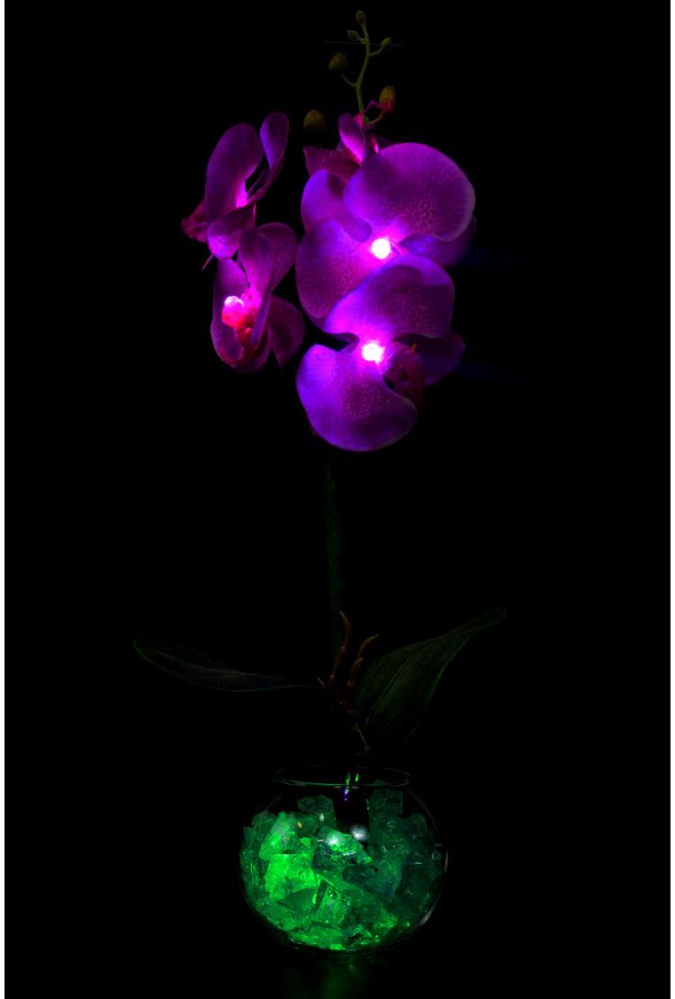 Светильник Орхидея фиолетовая (зел круглая) 5 цветков