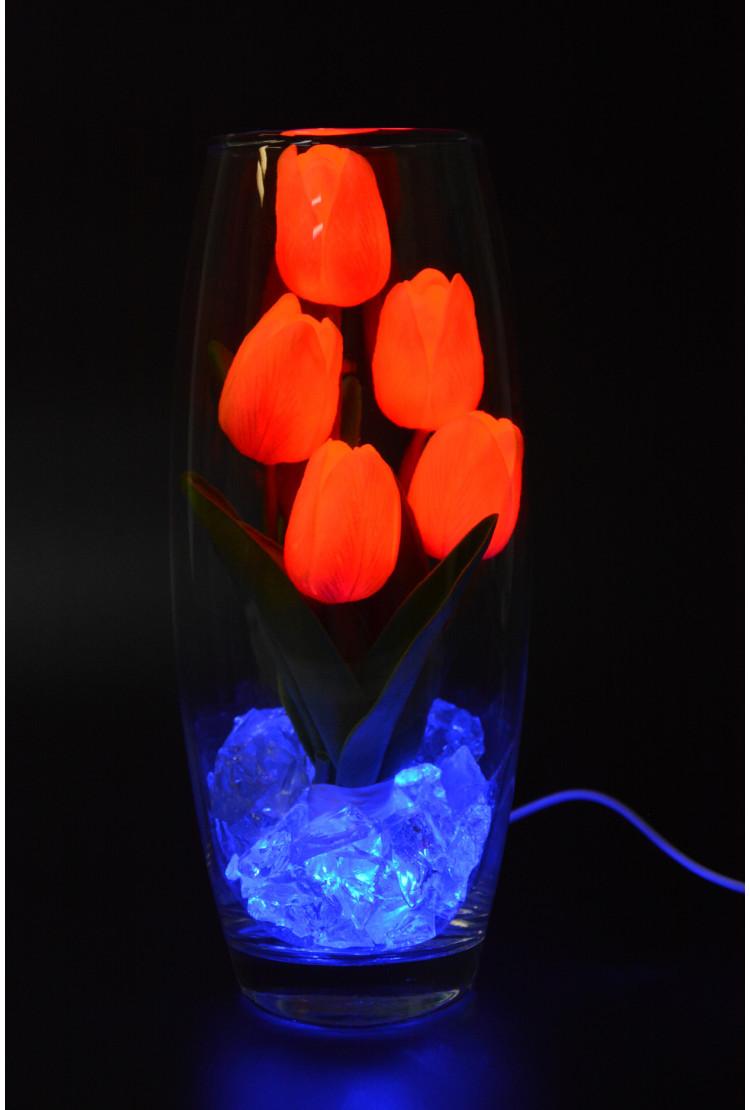 Светодиодные тюльпаны 5шт Оранжево-Красные (син)