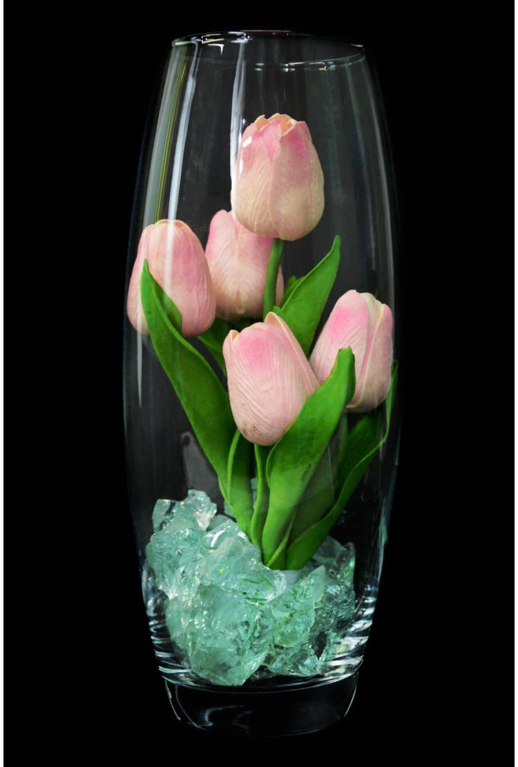 Светодиодные тюльпаны 5шт Розовые (син)