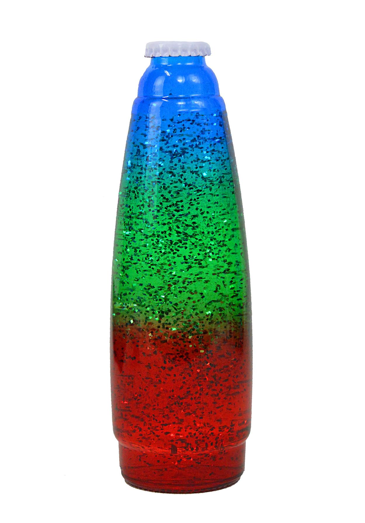 Колба для лава-лампы 35 см Трёхцветная/Блёстки  (20*5,5)
