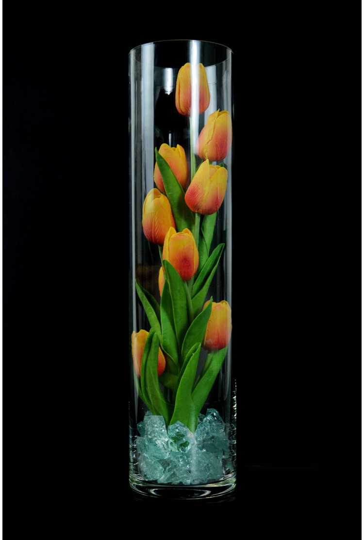 Светящиеся цветы тюльпаны 9шт Оранжевые(зел)