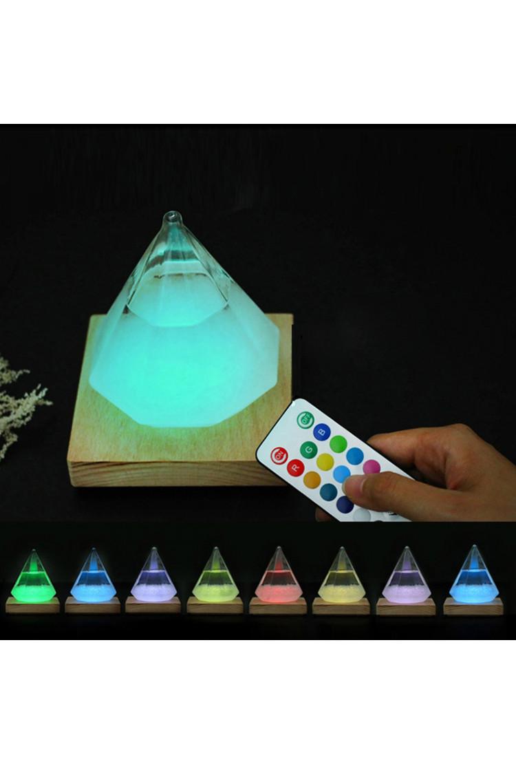 Штормгласс  Кристалл с RGB подсветкой и пультом ДУ (17 см)