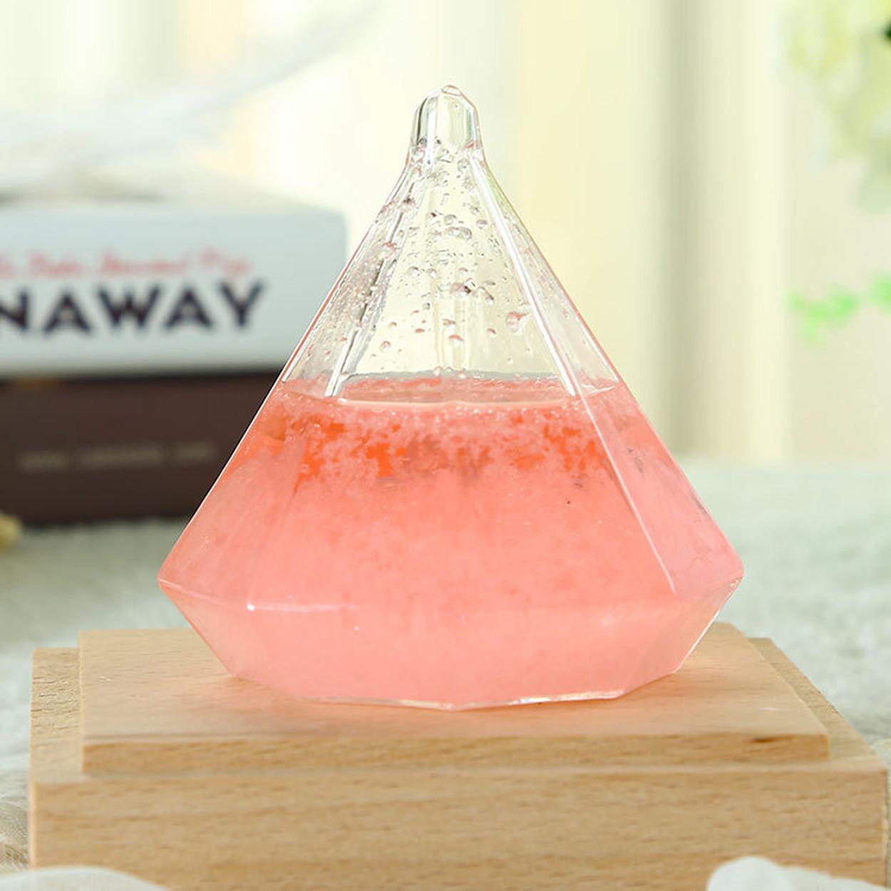 Штормгласс  Tempo Crystal XL Розовый с подсветкой и пультом ДУ (17 см)