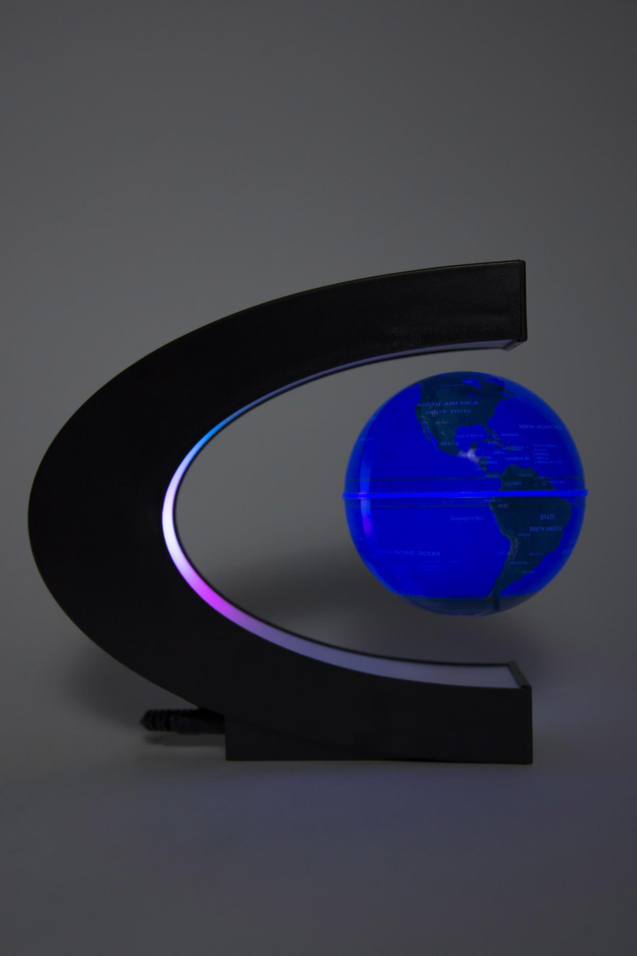 Левитирующий светящийся глобус (синий с RGB) (D - 9см)