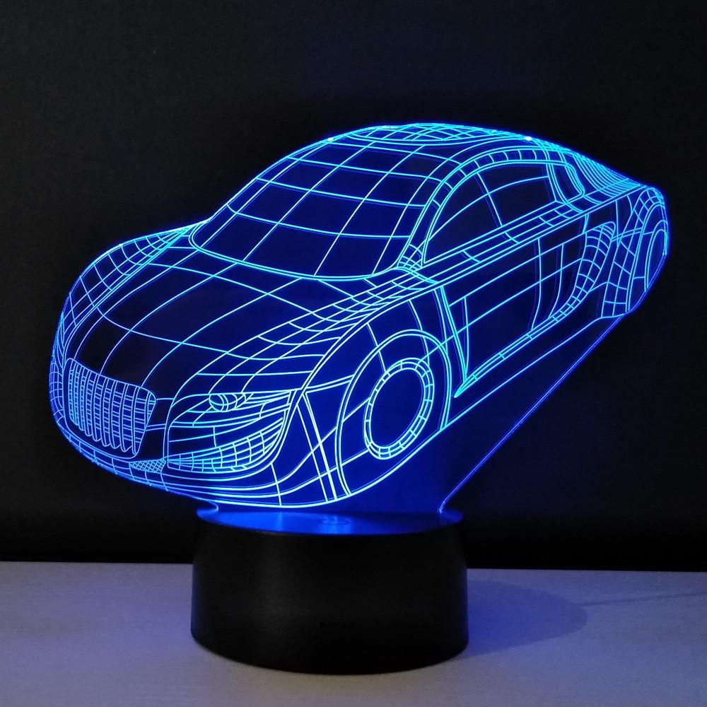 3D ночник Машина 3 цвета