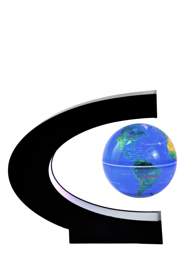 Левитирующий глобус с белой подсветкой (синий) (D - 9см)