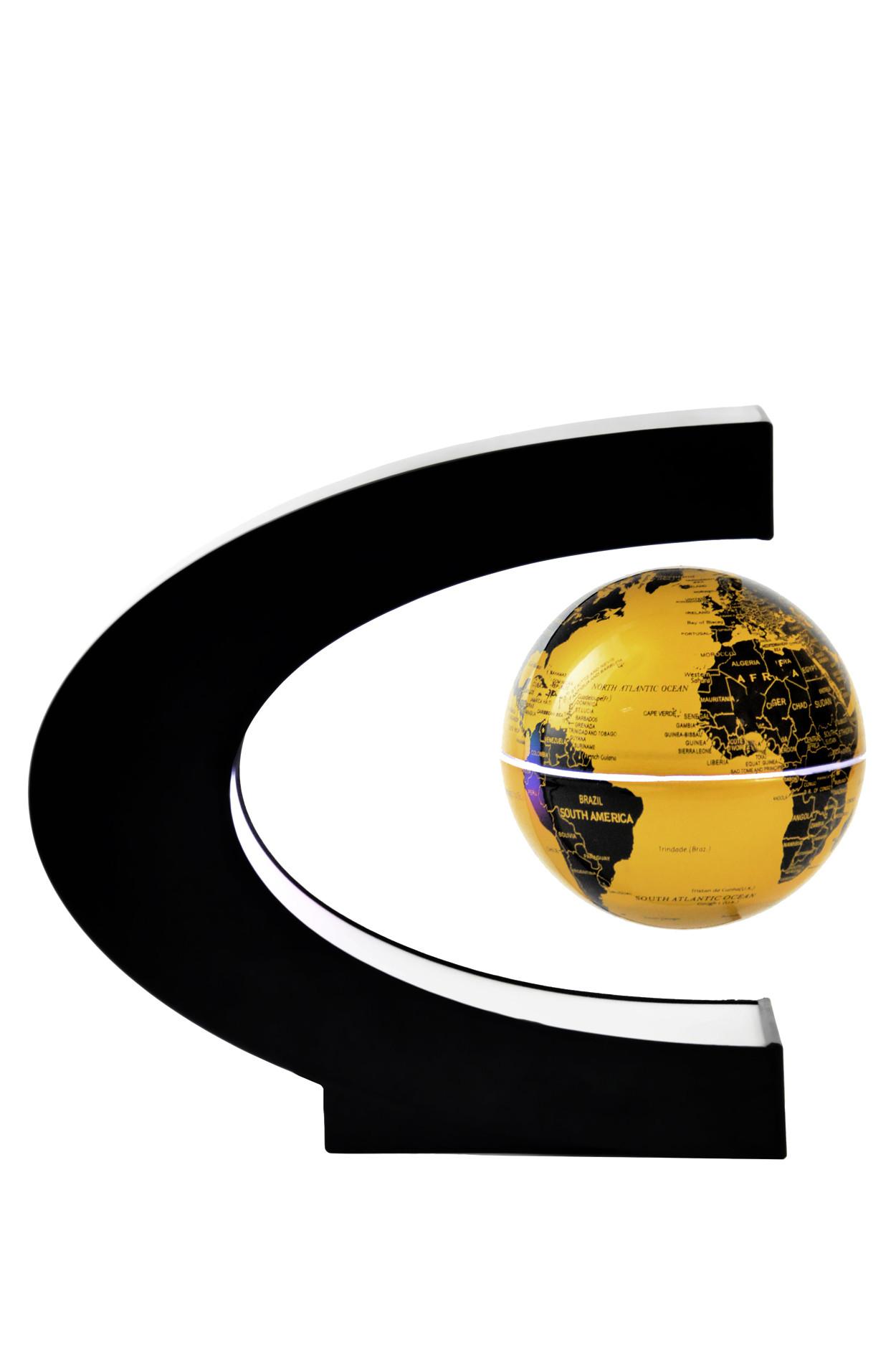 Светящийся левитирующий глобус (золотой) (D - 9см)