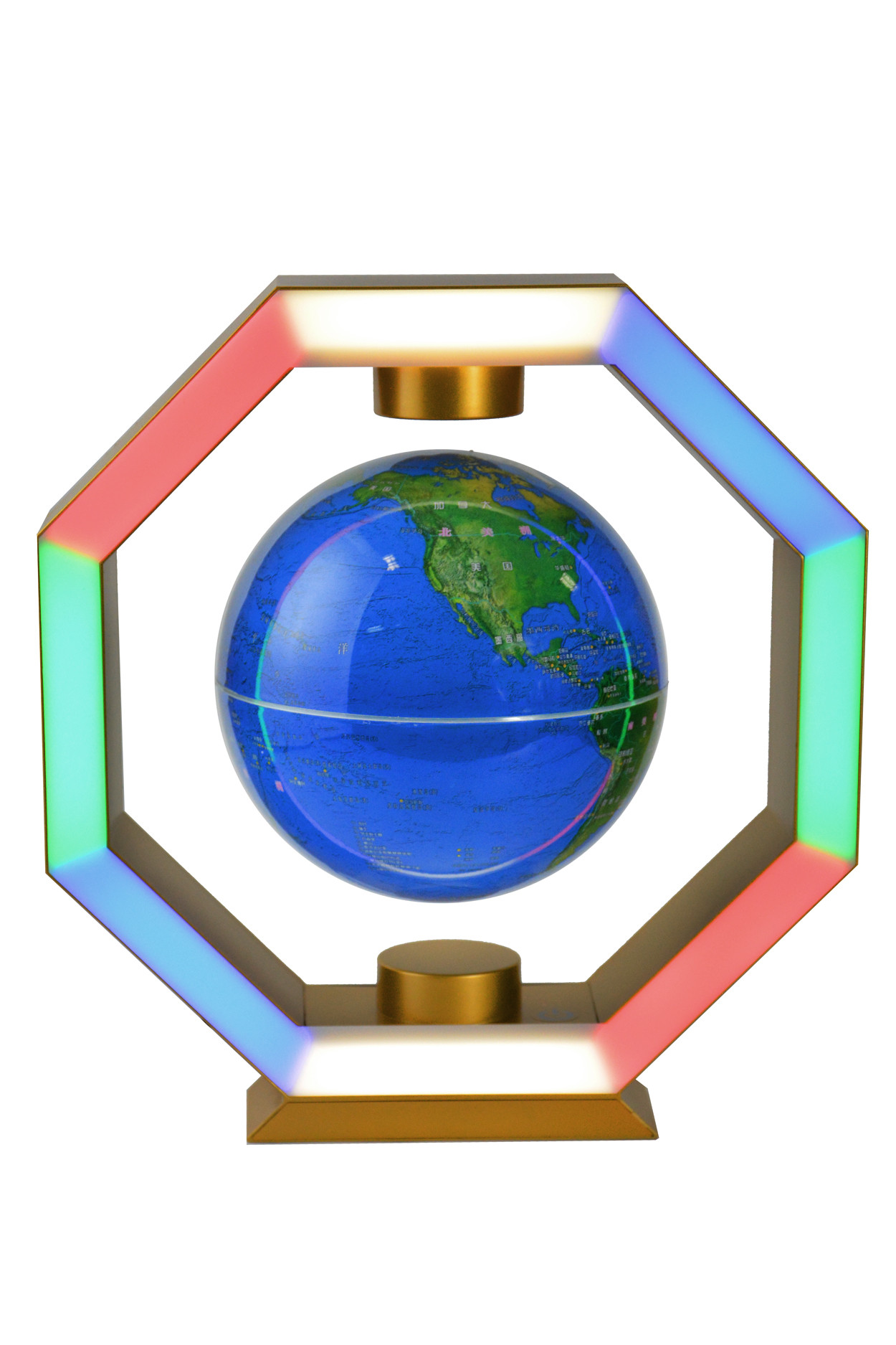 Левитирующий глобус RGB в золотой рамке (D - 14см) Китайский Язык