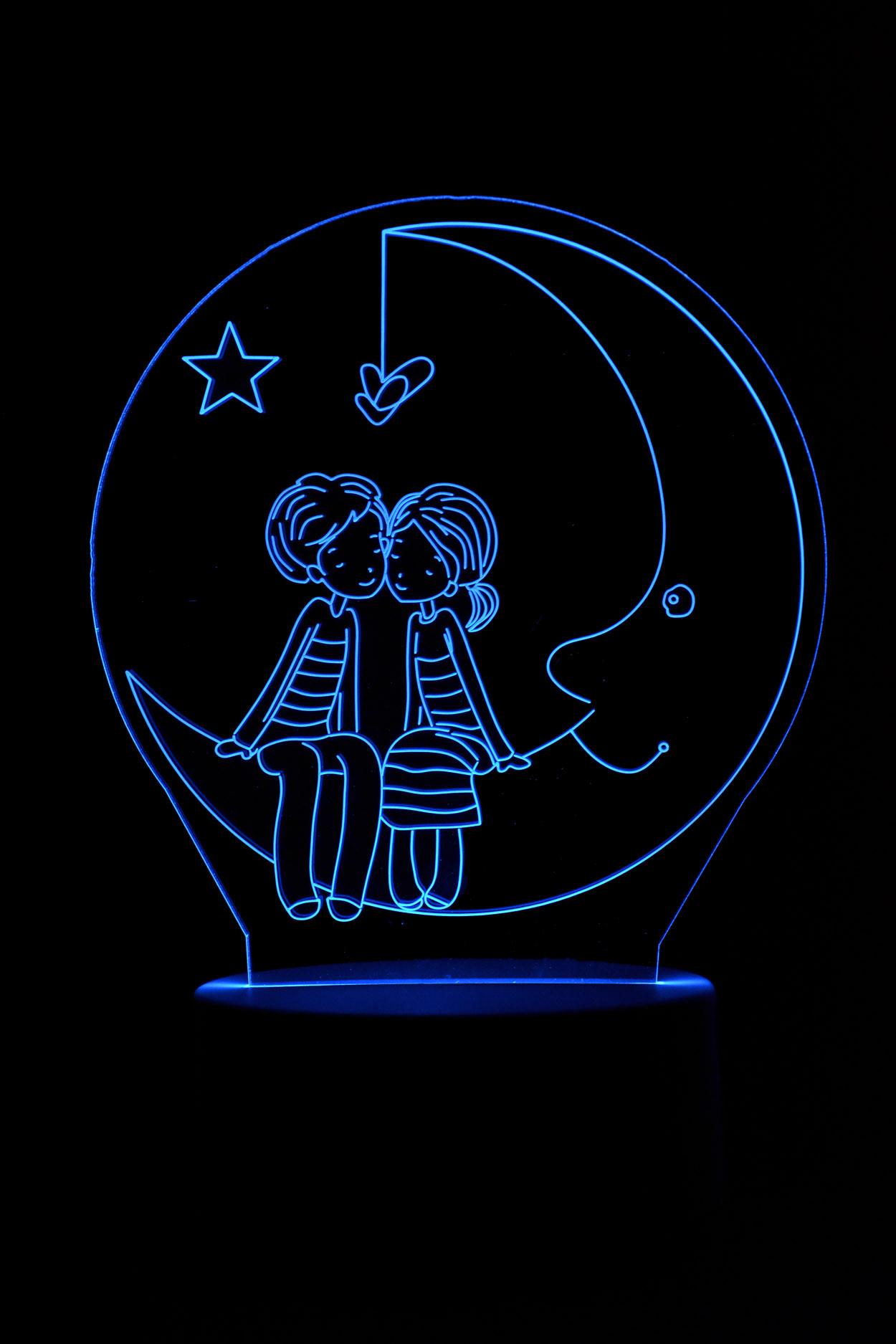 3D ночник мальчик девочка на месяце 3 цвета
