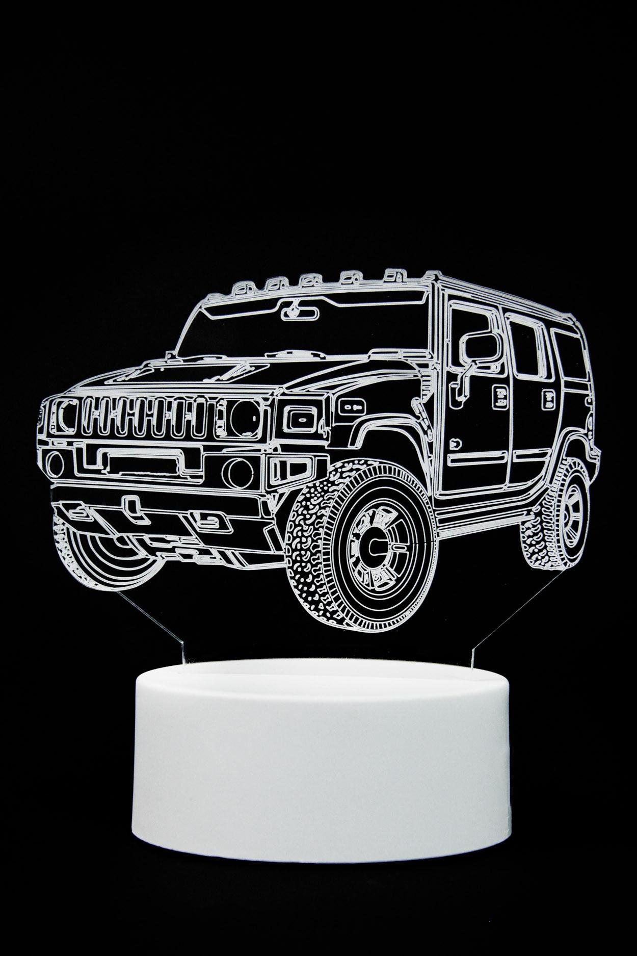 3D ночник автомобиль Hummer 3 цвета