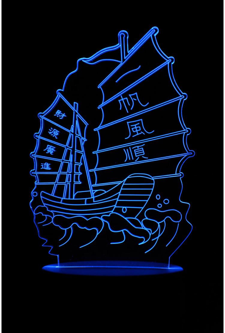 3D ночник корабль Джонка 7 цветов