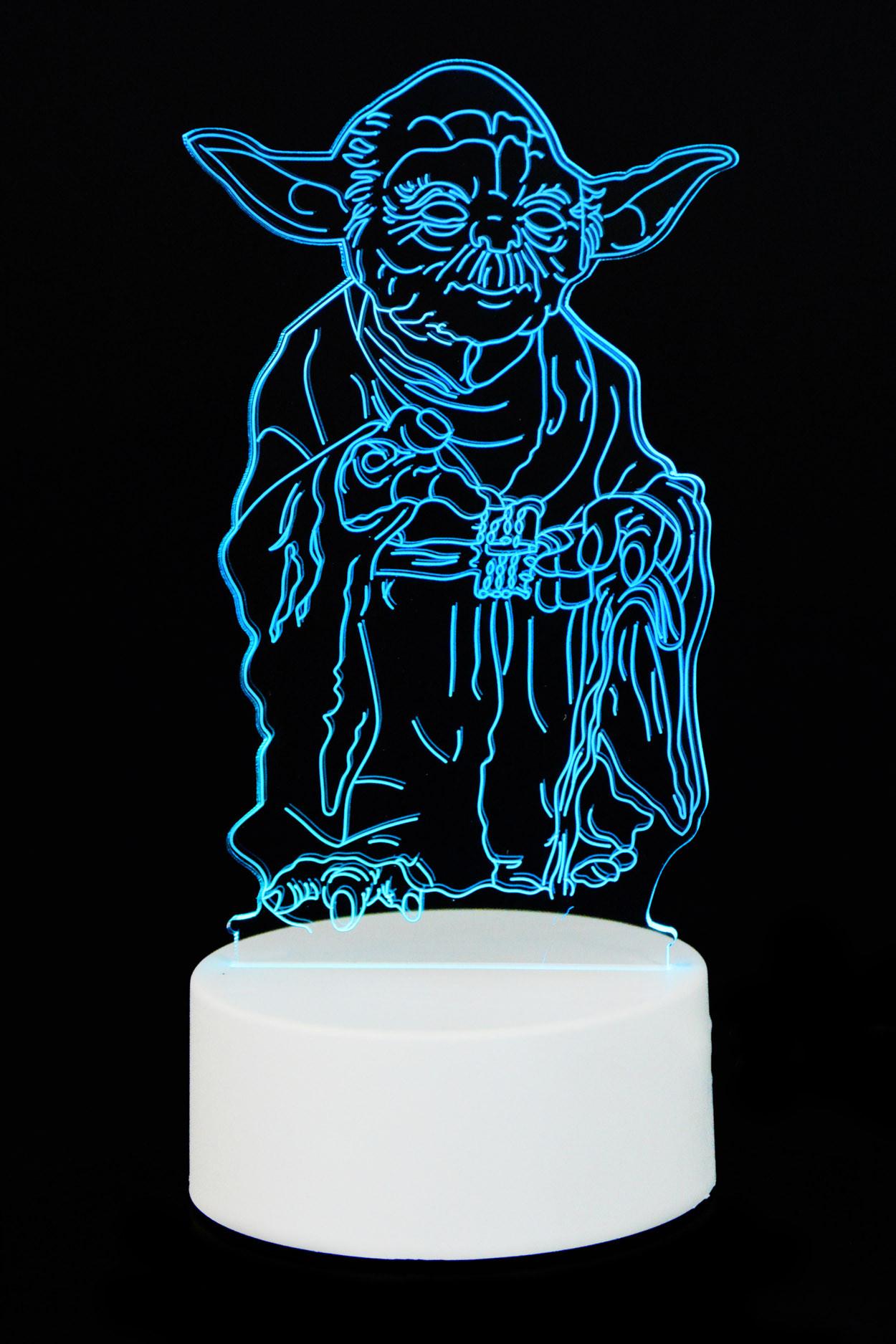 """3D светильник """"Йода"""" 3 цвета"""