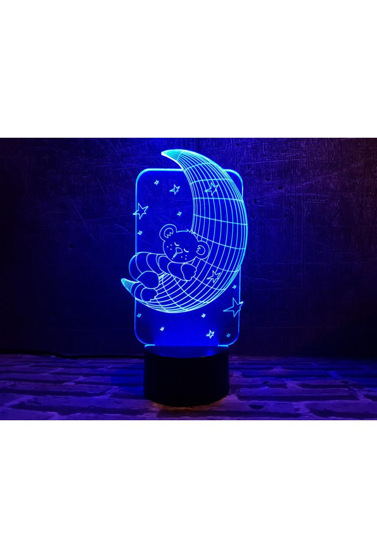 3D ночник Мишка на месяце 3 цвета
