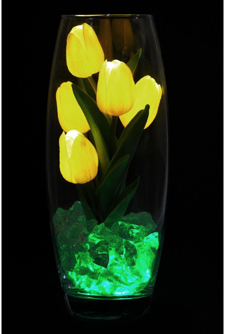Светодиодные тюльпаны 5шт Жёлтые (зел)