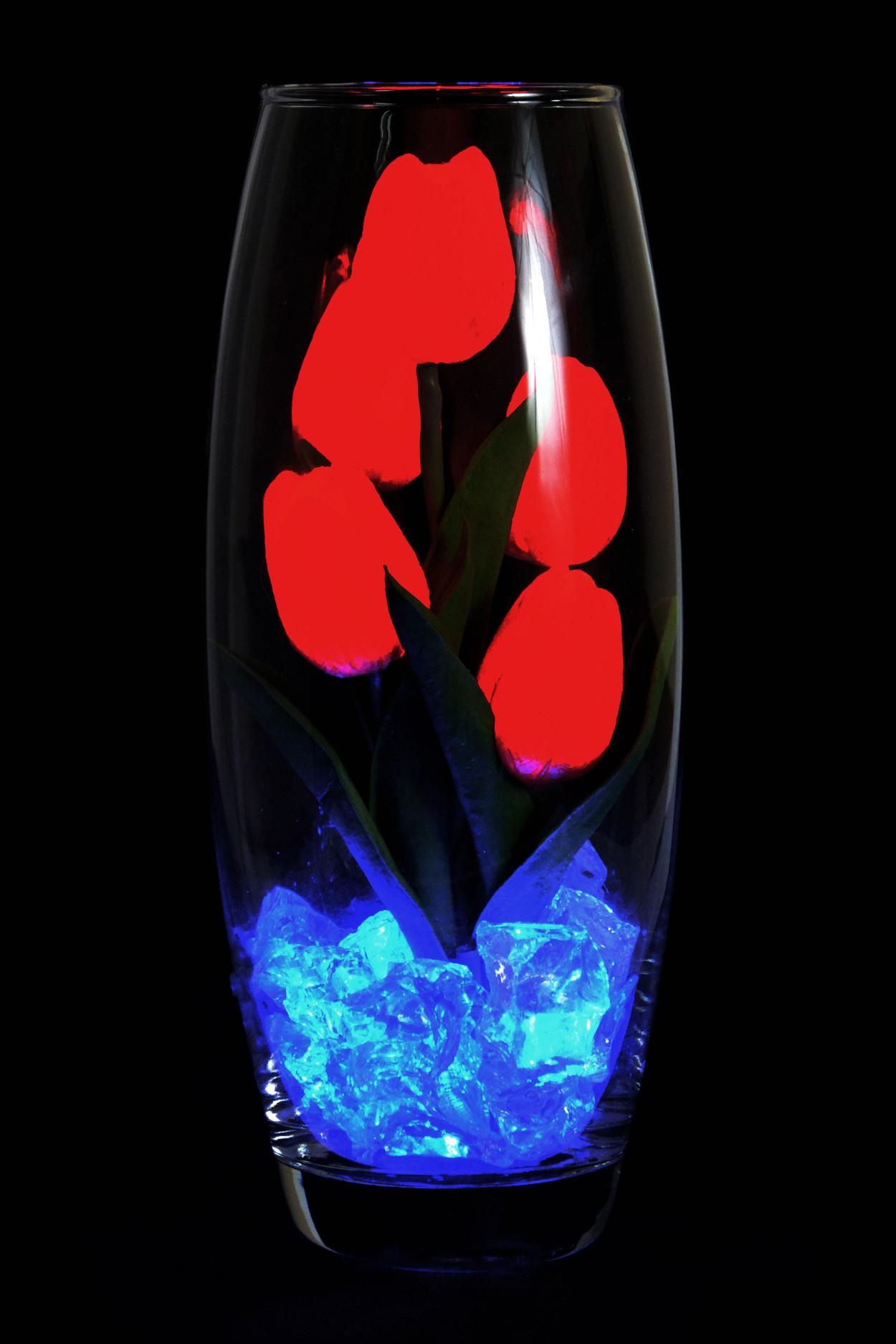 Светодиодные тюльпаны 5шт Красные (син)