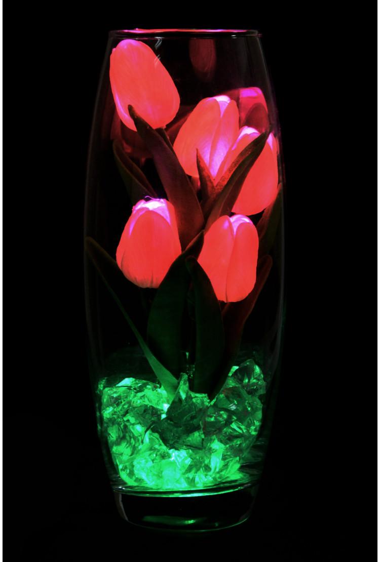 Светодиодные тюльпаны 5шт Розовые (зел)