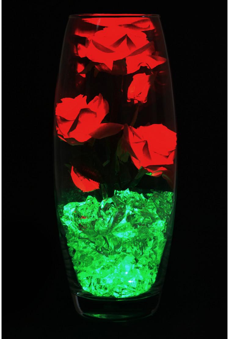 Светодиодные розы 5шт Желто-Красные (зел)
