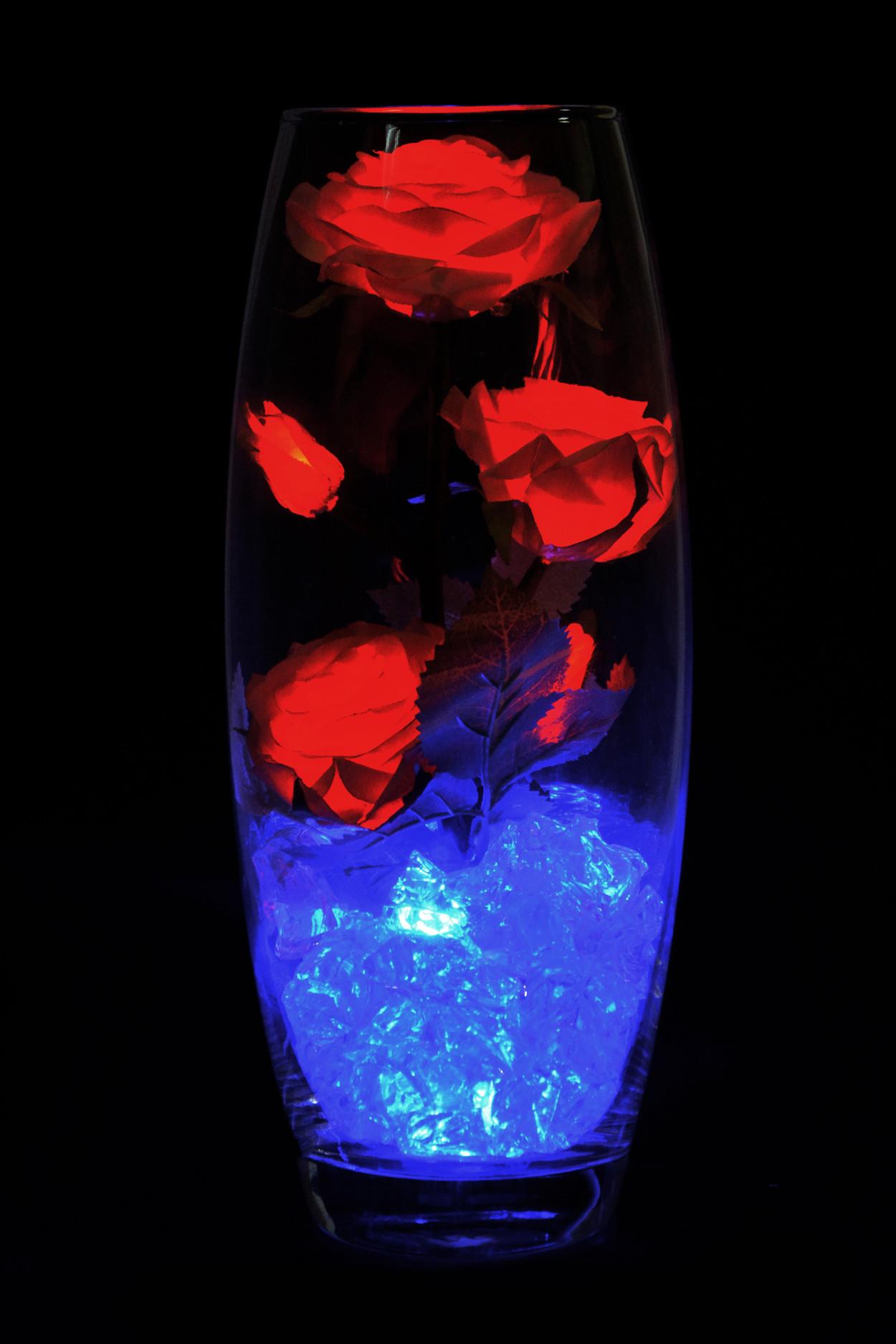 Светодиодные розы 5шт Желто-Красные (син)