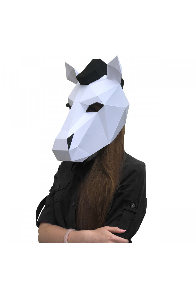 3D-конструктор Paperraz Маска «Белая лошадка»