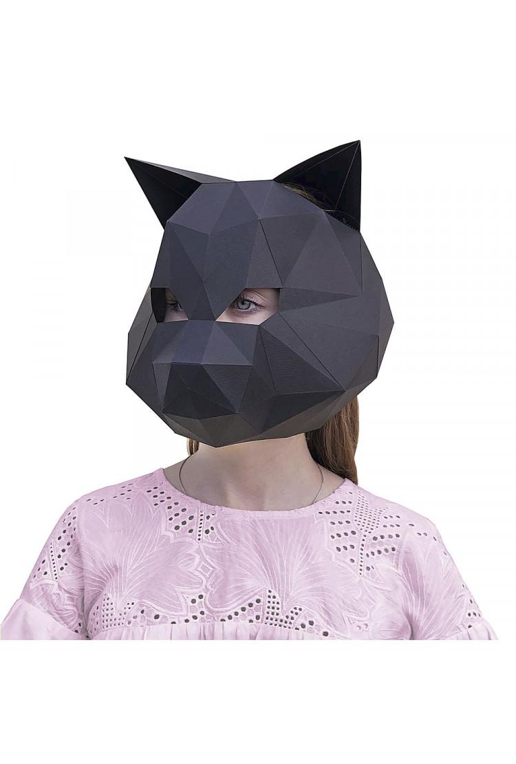3D-конструктор Paperraz Маска «Кошка» (черный)