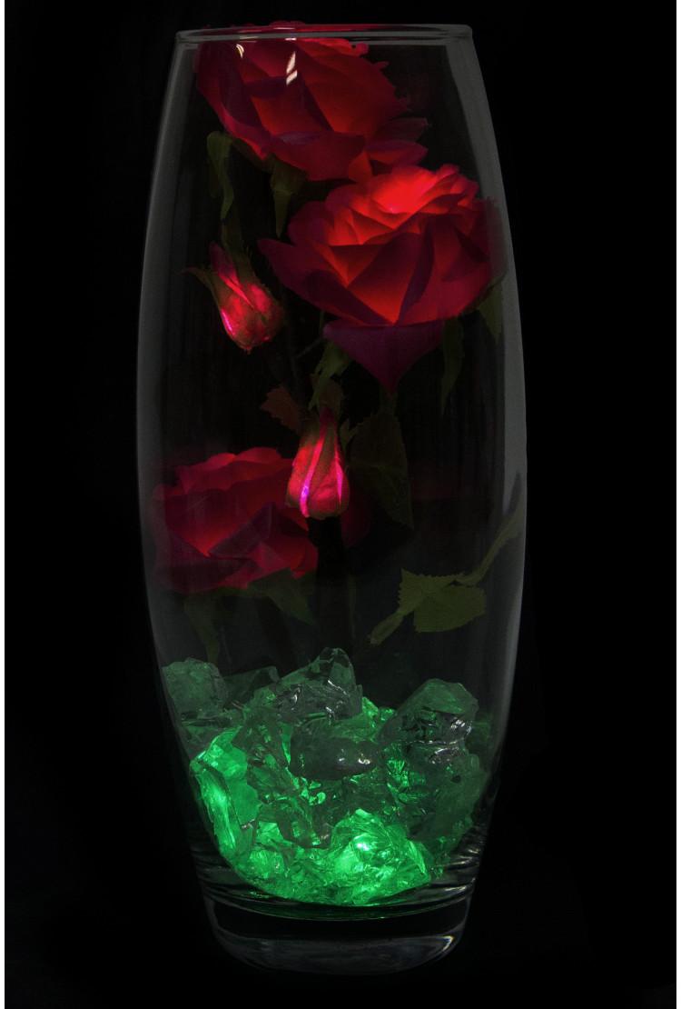 Светодиодные розы 5шт малиновые (зел)